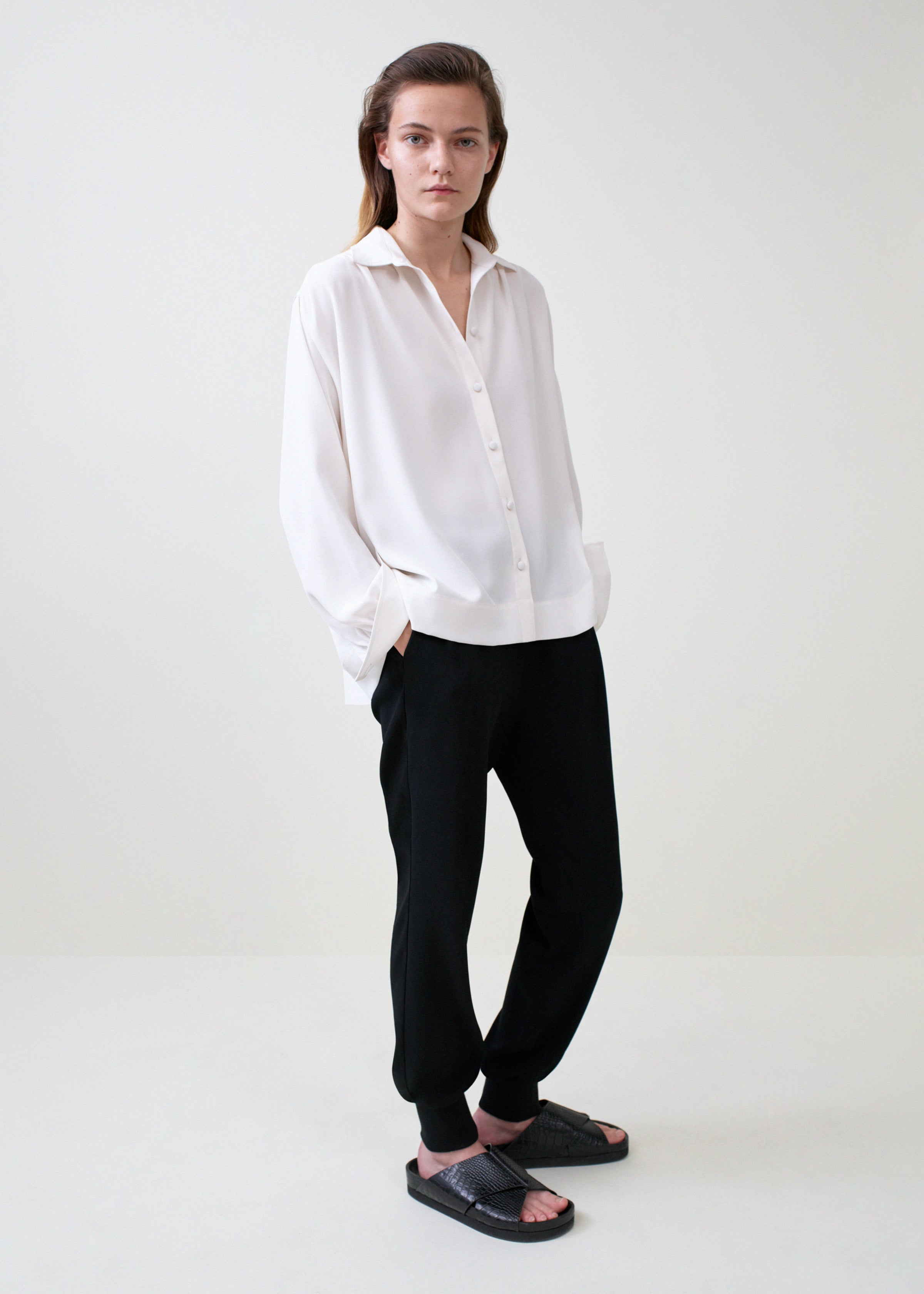 Ruched Buttondown Blouse - Ivory