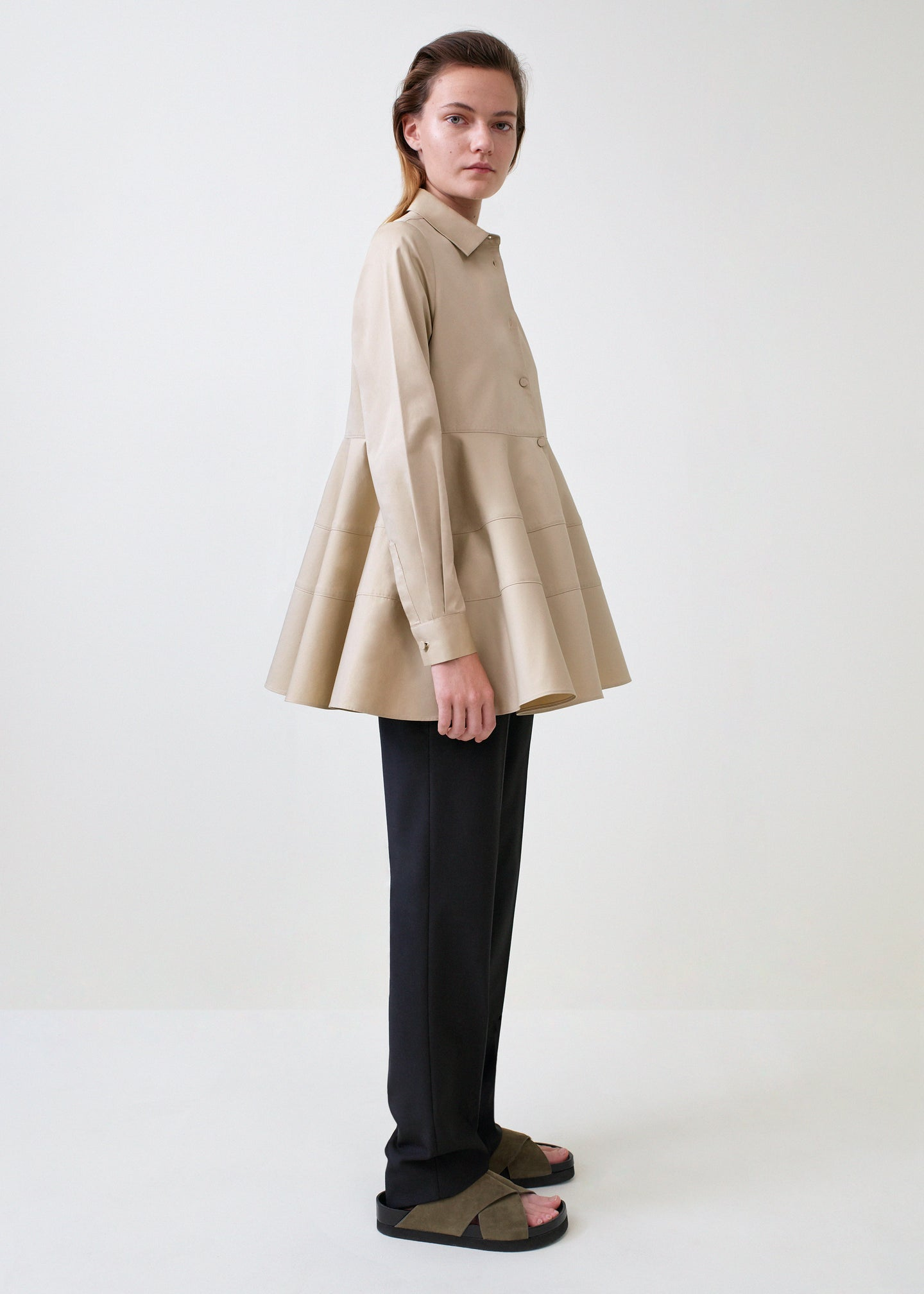 Tiered Button Down Shirt - Taupe - Co Collections