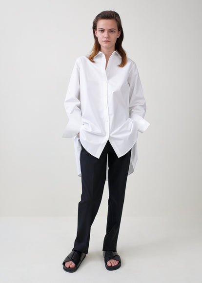 A-Line Button Down Shirt in Cotton Poplin - White - CO