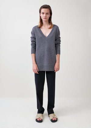 V-Neck Boyfriend Sweater - Grey - Co Collections