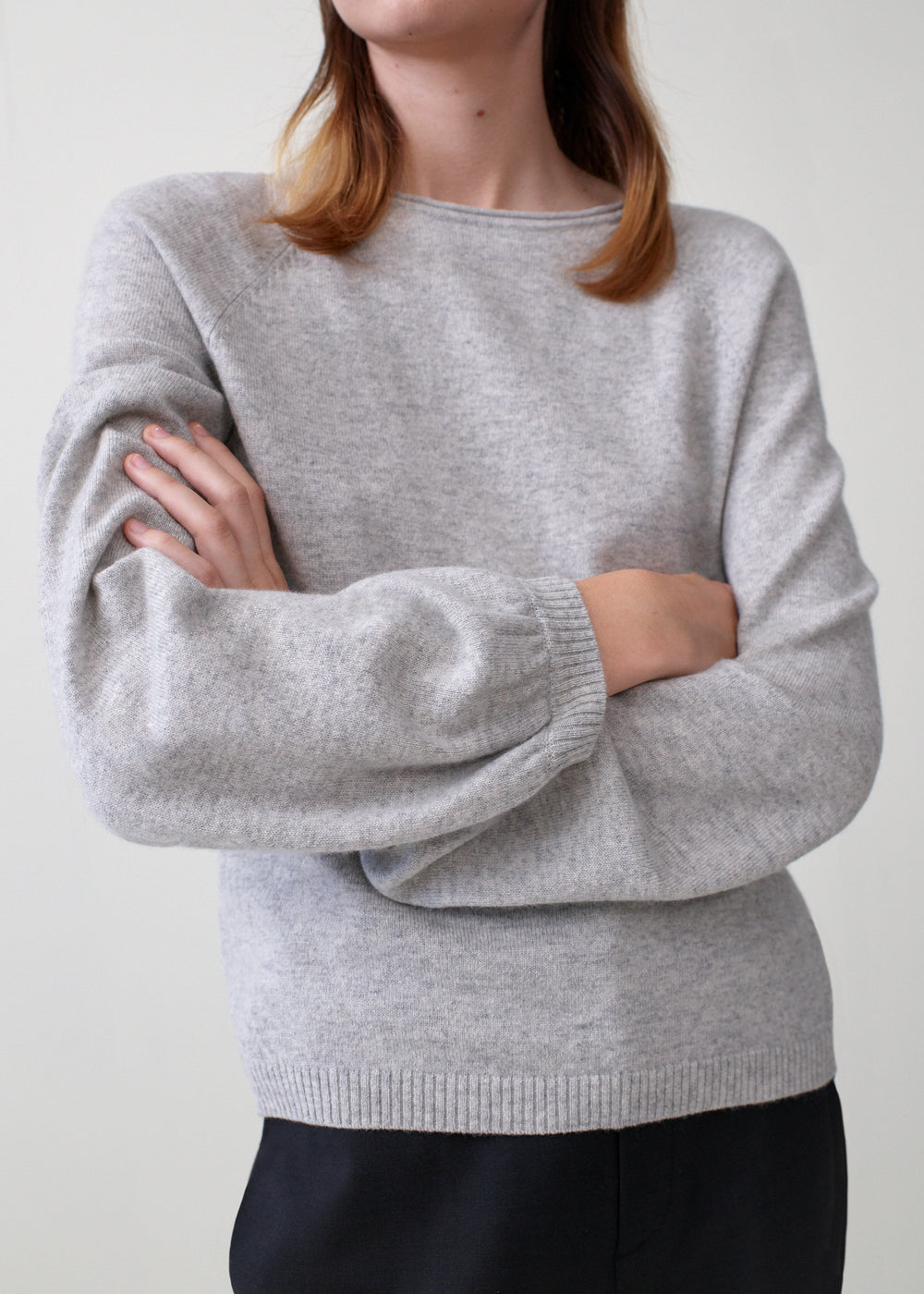Raglan Peasant Sleeve Sweater in Cashmere - Brown in Light Grey by Co Collections