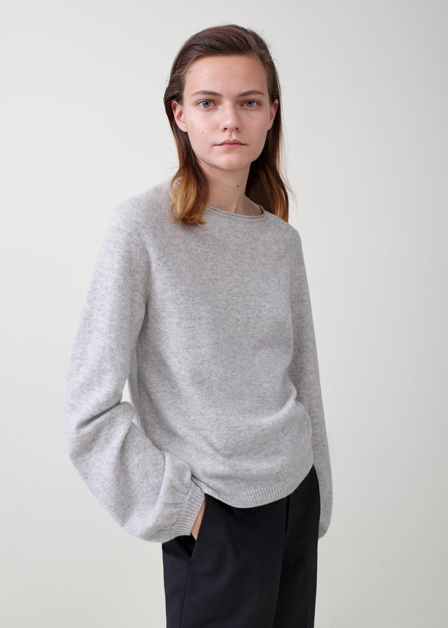 Raglan Peasant Sleeve Sweater - Light Grey - Co Collections