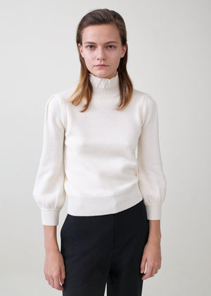 Ruffled Merino Wool Turtleneck - Ivory - Co Collections