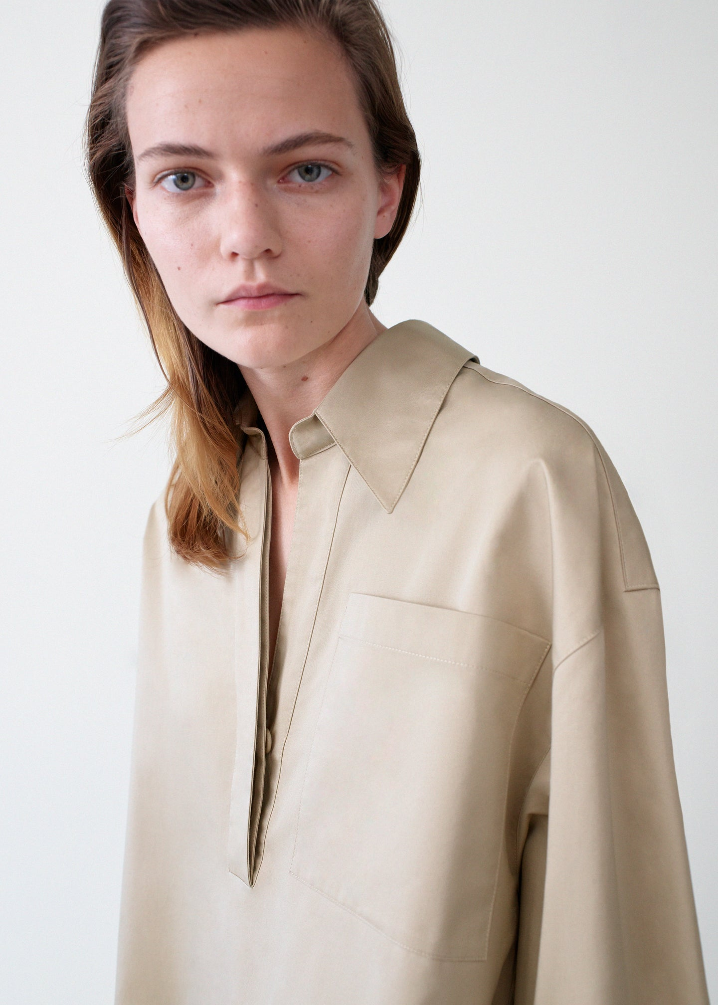 Half Placket Shirt - Taupe - Co Collections