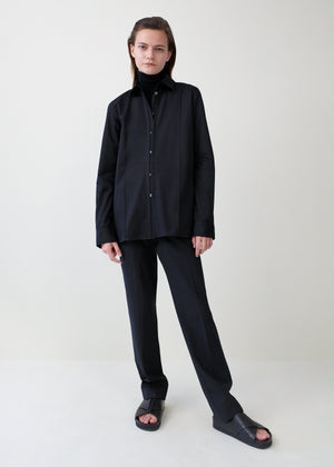 Tucked Placket Button Down Shirt - Black - CO