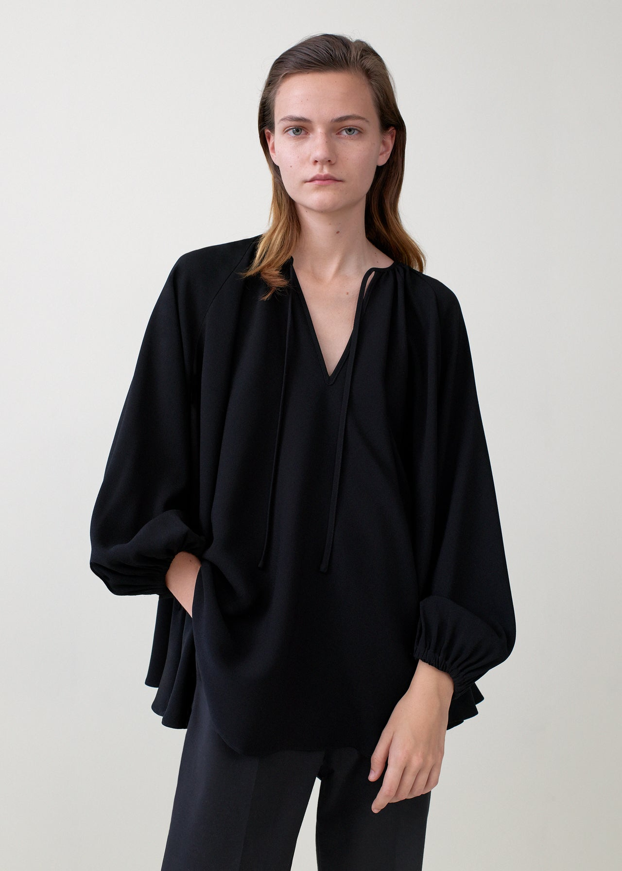 Crepe Peasant Blouse - Black
