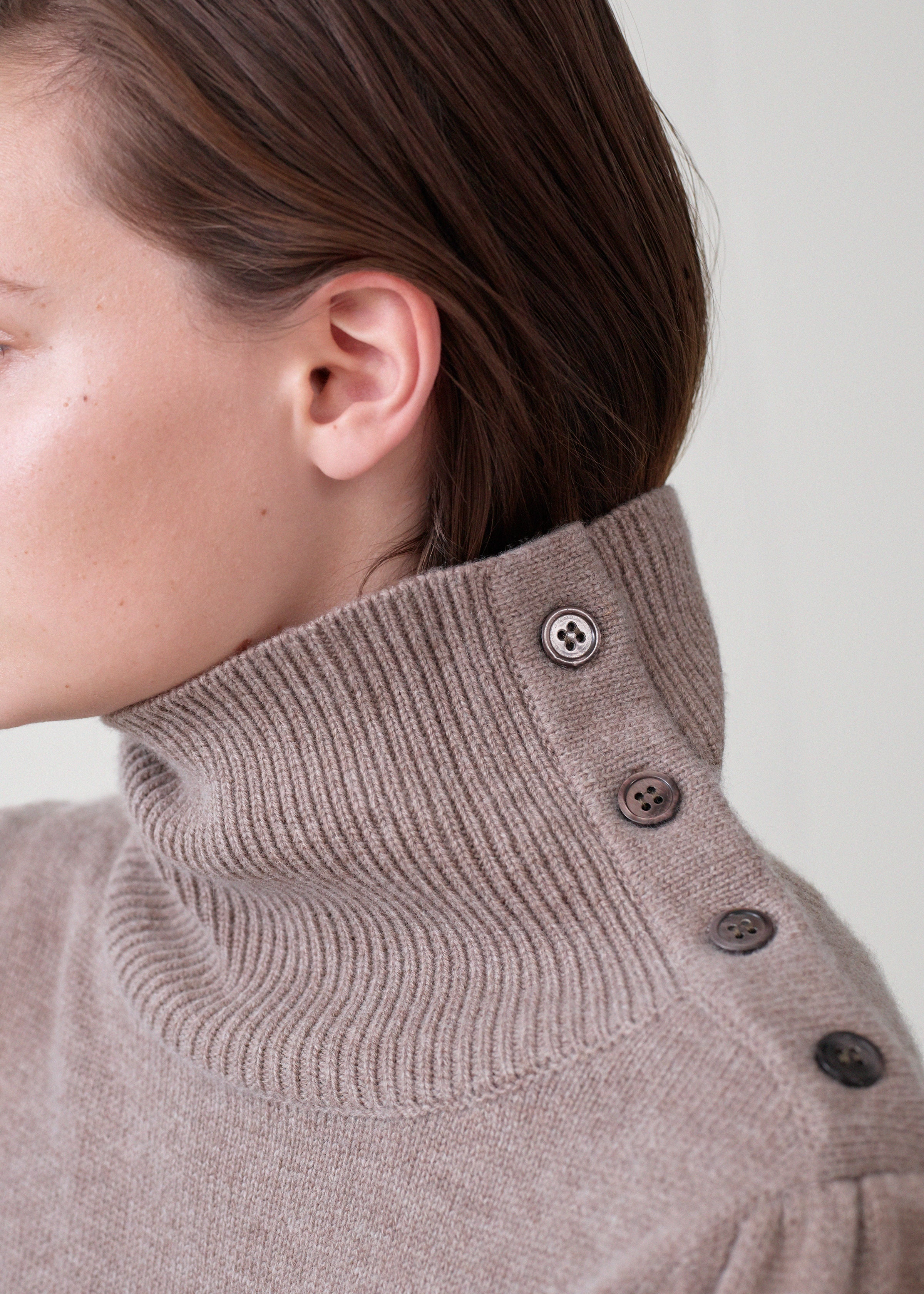 Button Shoulder Sweater - Taupe - Co Collections