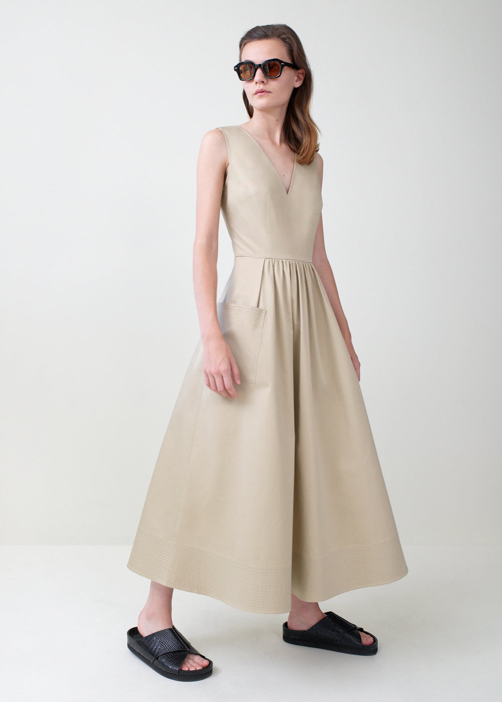 Sleeveless Trapunto Hem Dress - Taupe - CO