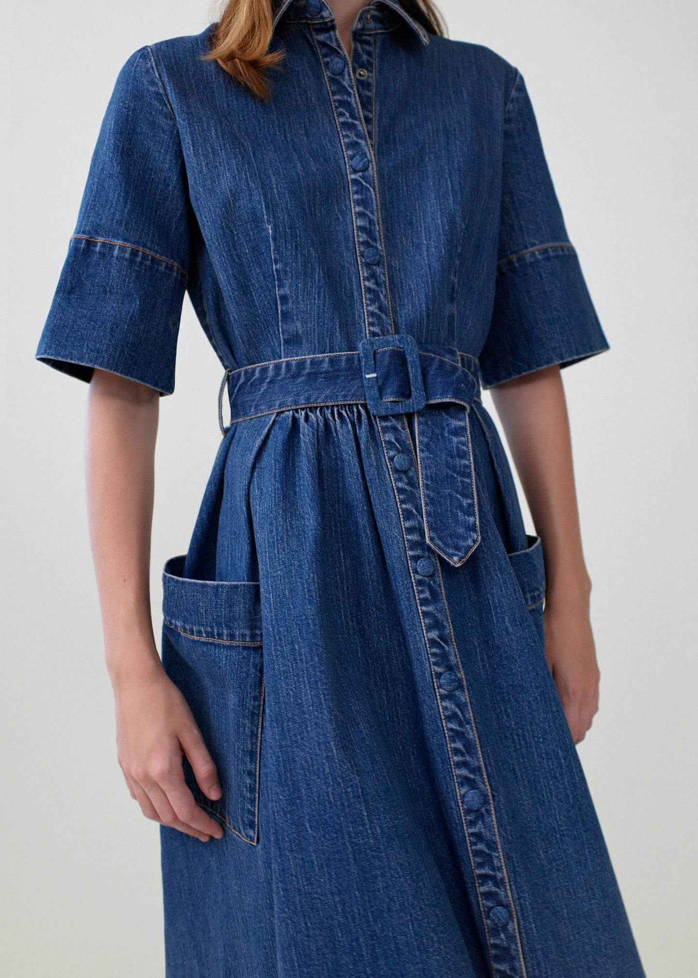 CO - Patch Pocket Dress in Denim - Denim