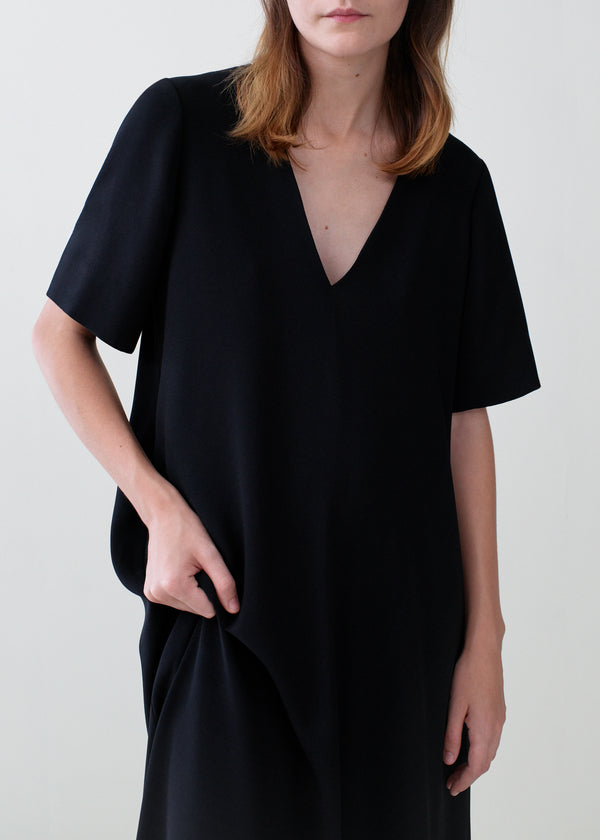 Short Sleeve V-Neck Dress - Black - CO