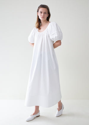 Bubble Sleeve Midi Dress - White - Co Collections