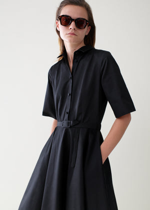 Short Sleeve Flared Dress - Black - CO