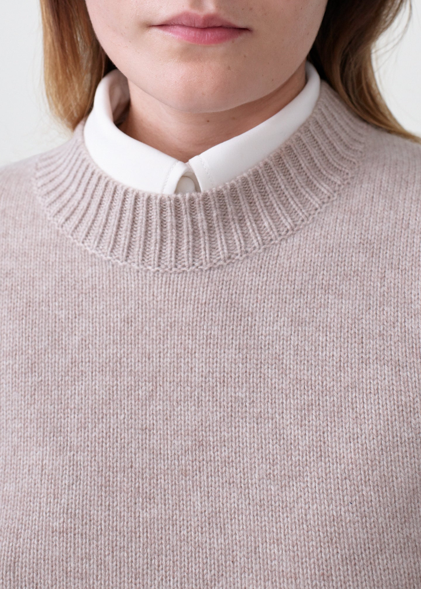Cashmere Crew Neck Sweater - Sand Melange - Co Collections