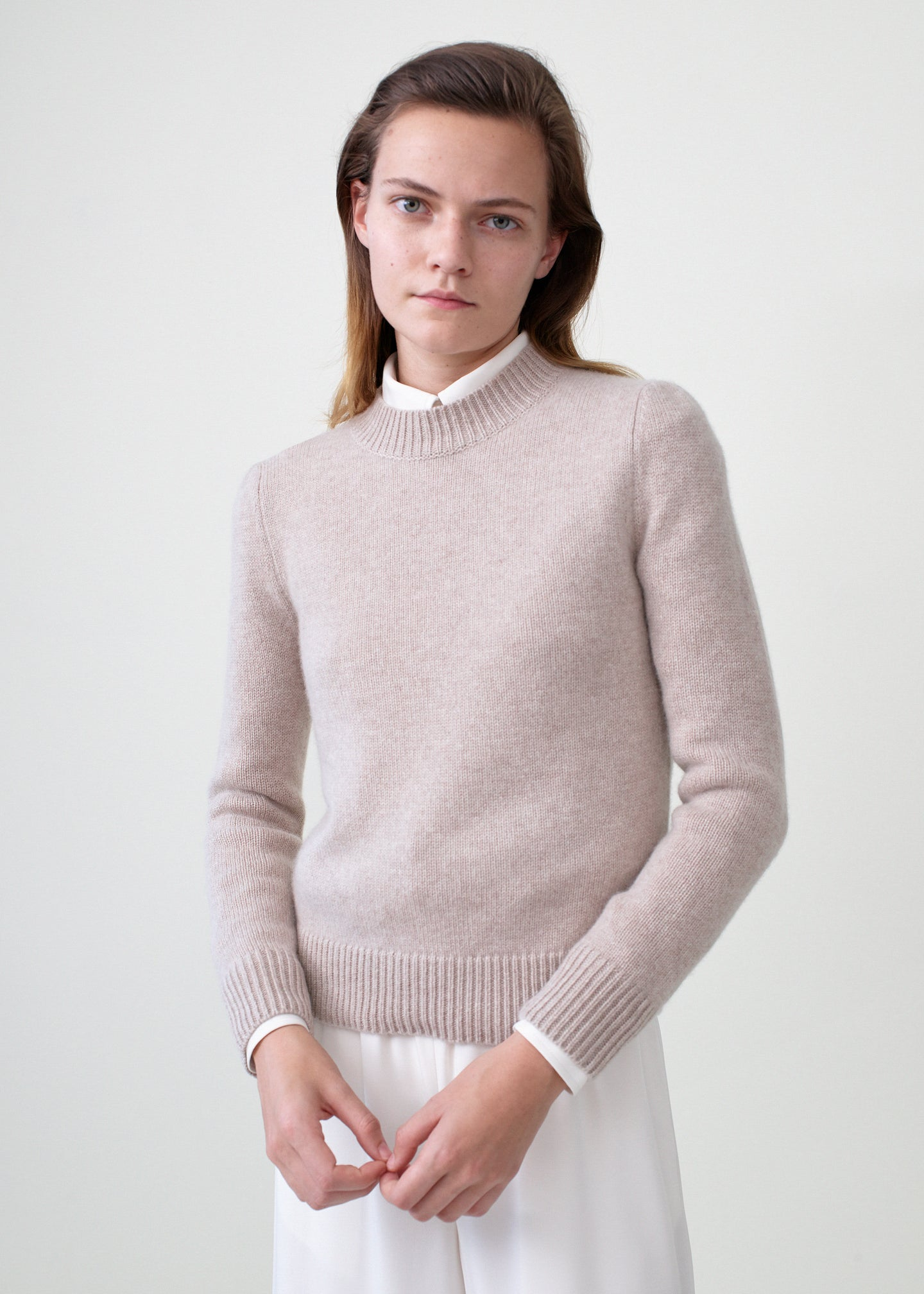 Ruched Cashmere Crew Neck Sweater - Sand Melange - CO