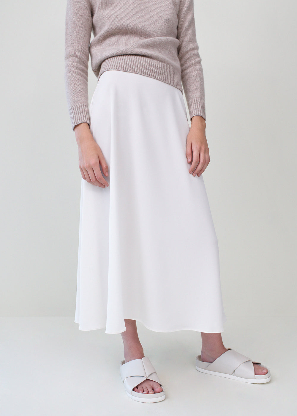 A-Line Skirt in Stretch Crepe - Ivory - CO