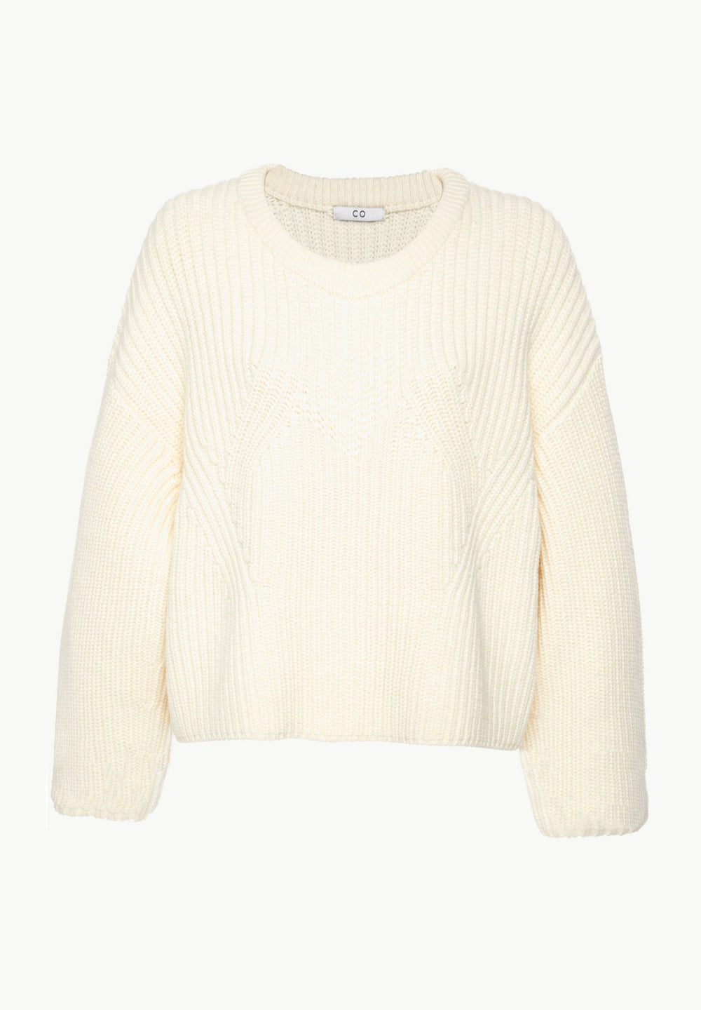 Boxy Crewneck Sweater in Wool Cashmere - Black in Ivory by Co Collections
