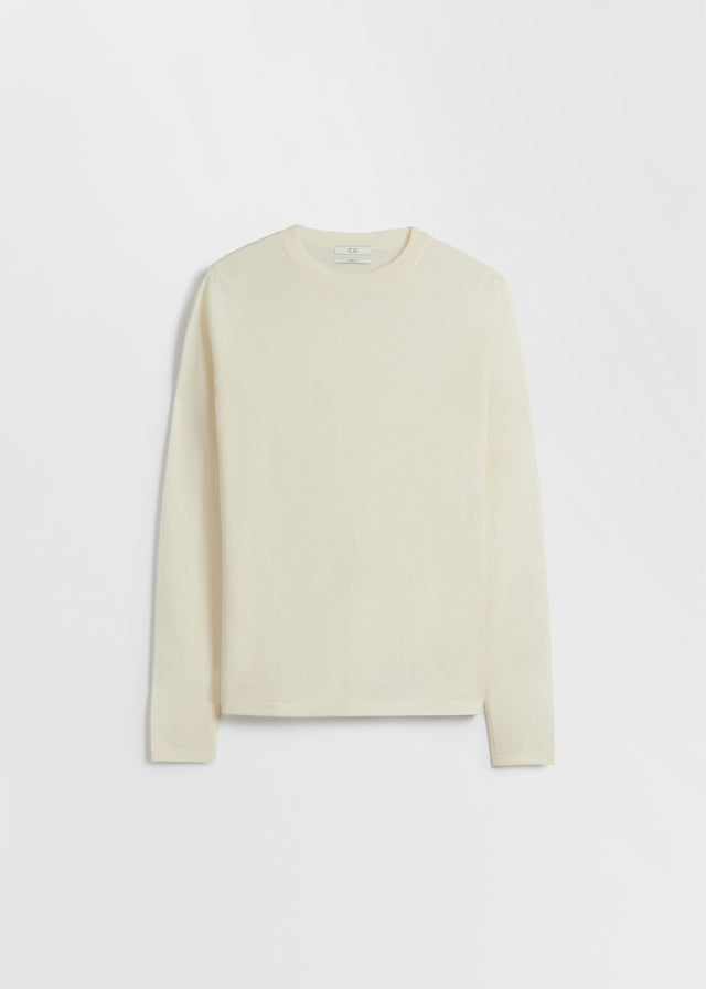 CO - Long Sleeve Crew Neck in Fine Cashmere - Ivory