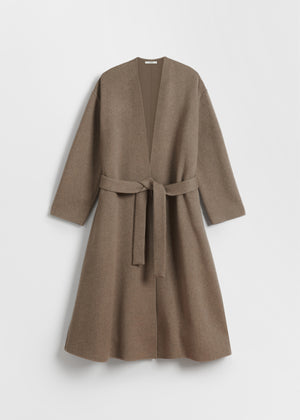 Wrap Coat With Self Belt in Cashmere - Chestnut - CO