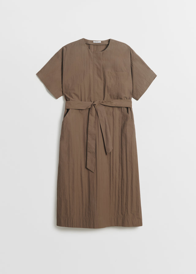 CO - Belted Short Sleeve Dress In Cotton - Taupe