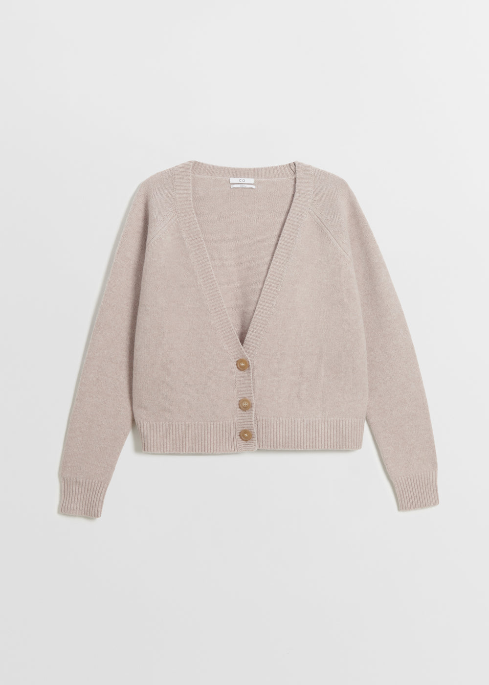 Cropped Cardigan in Boiled Cashmere - Light Grey in Sand Melange by Co Collections