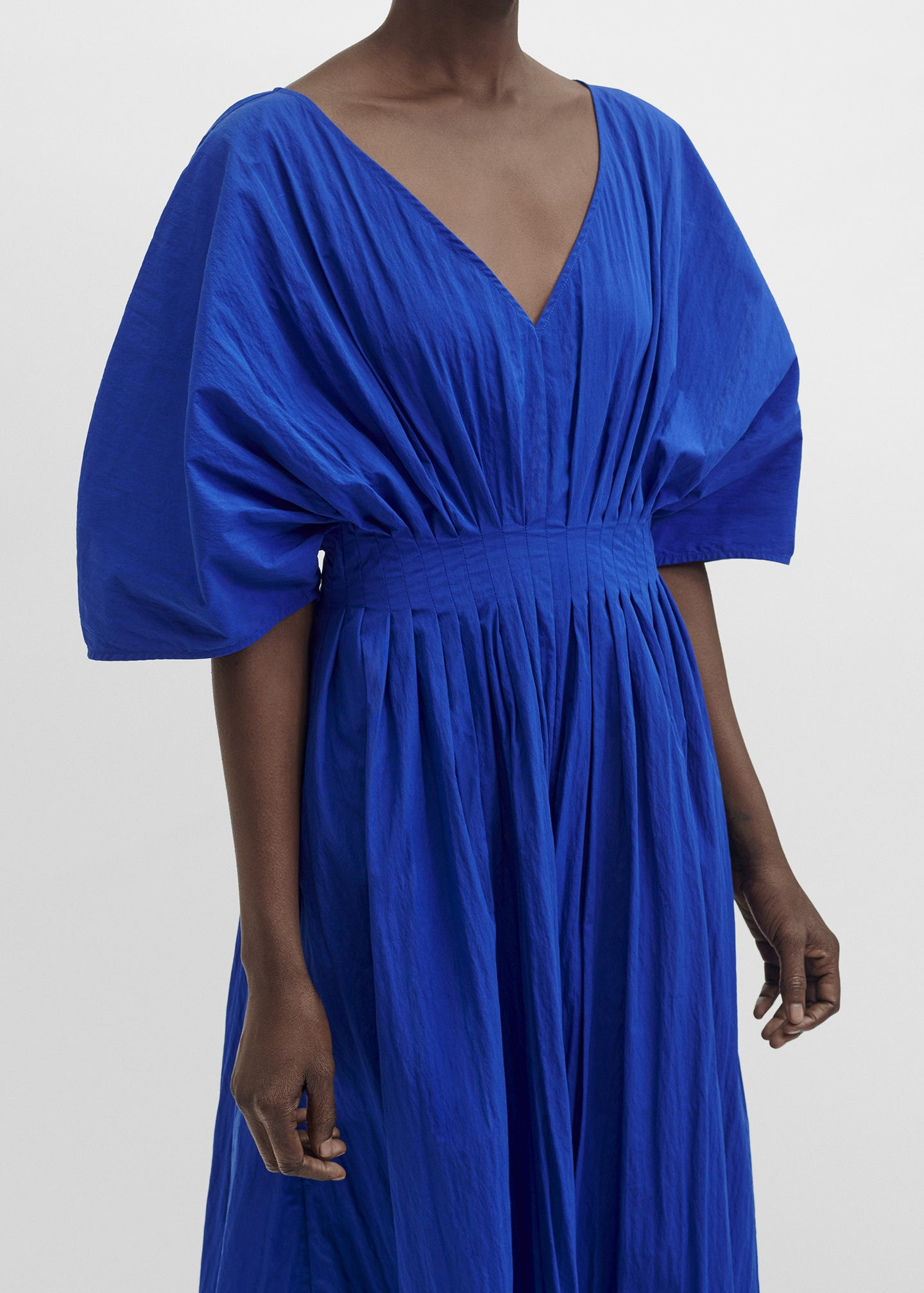 CO - Tucked Waist V Neck Dress In Cotton - Cobalt