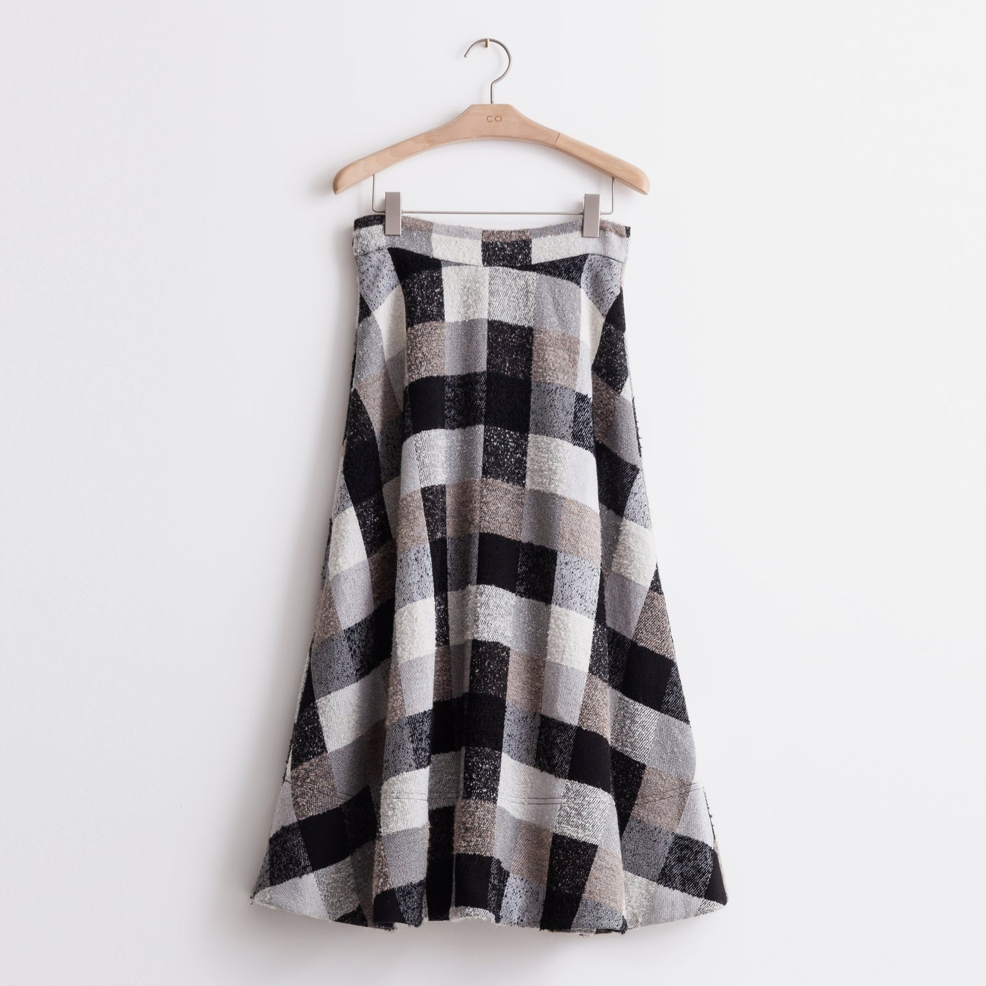 A line skirt with side zip in checkered wool - CO