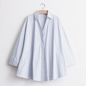 Convertible sleeve button down blouse in light blue cotton nylon - CO