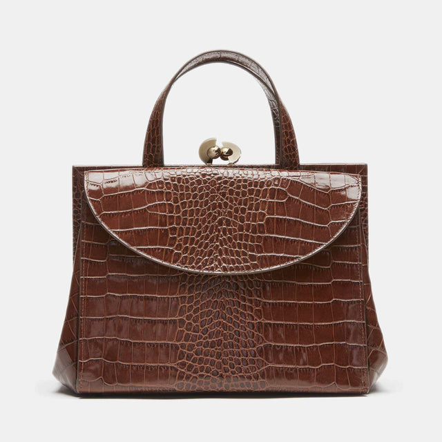 CO - Doctor bag with gold hardware in brown embossed leather
