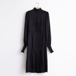 High neck long sleeve gathered bodice dress in black satin crepe - CO