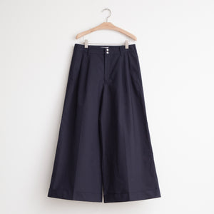 High waisted wide leg trouser in navy bonded cotton - CO