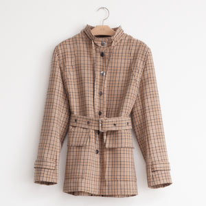 Belted utility jacket with snap closure in beige plaid cotton blend - CO