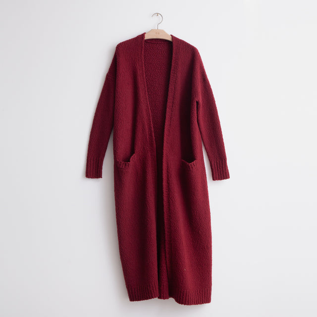 CO - Open front long cardigan in burgundy boiled wool