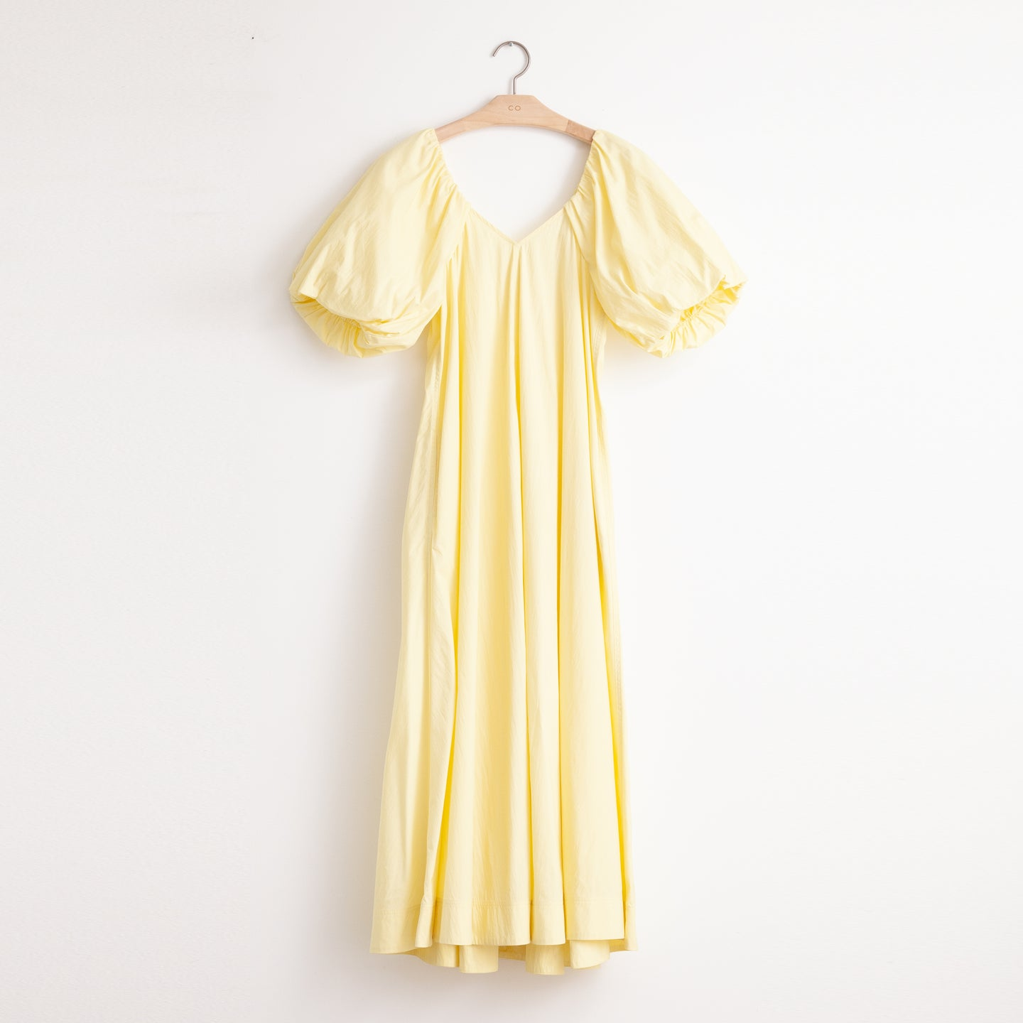 CO - Open neck a line dress with voluminous sleeve detail in yellow lightweight cotton nylon