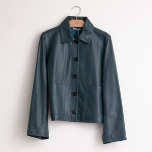Button front short jacket in teal lambskin leather - CO