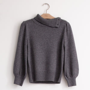 CO - Button shoulder sweater with bishop sleeve in grey wool cashmere