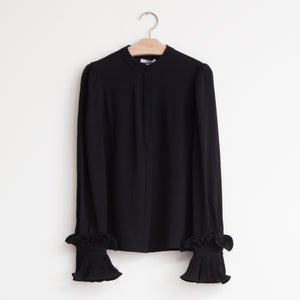 CO - Long sleeve button front shirt with exaggerated pleated wrist detail in black japanese crepe