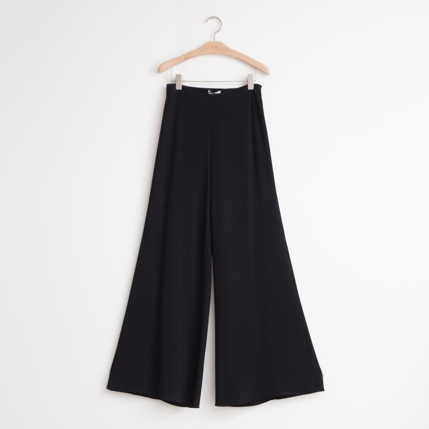 High waisted side zip wide leg pant in fluid japanese crepe - CO