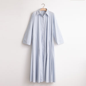 CO - Button front convertible sleeve shirtdress with elastic back detail in blue lightweight cotton nylon