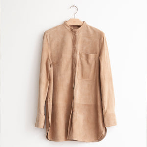 CO - Long sleeve button front shirt with mandarin collar and single pocket in tan suede