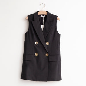 Oversized sleeveless double breasted vest with brushed gold buttons in black light weight wool/cotton - CO