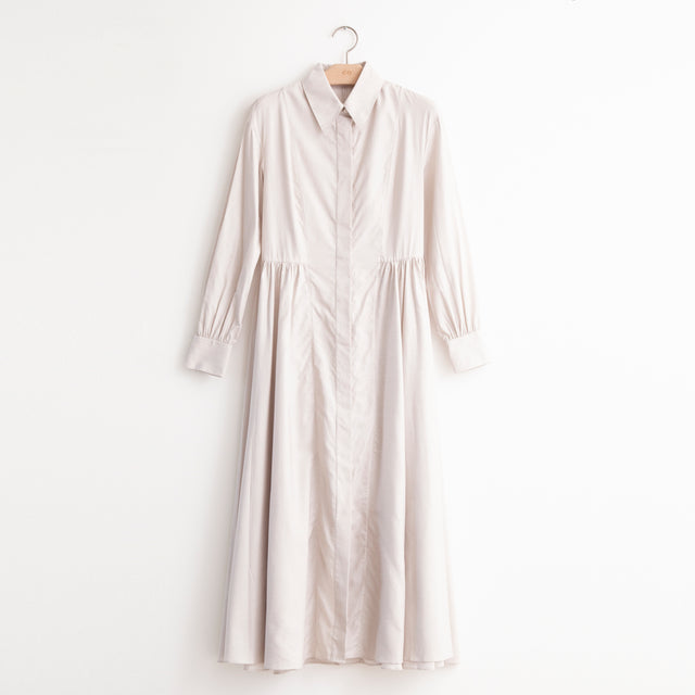 CO - Long sleeve shirt dress with gathered side detail in white and beige cotton ticking stripe
