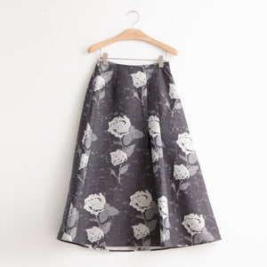 Mid length a line skirt in grey floral wool - CO