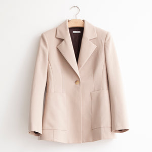 Single breasted tailored jacket with patch pockets in beige stretch wool - CO