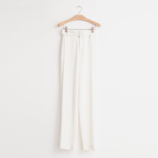 CO - Mid rise wide leg trouser with belt in ivory stretch crepe