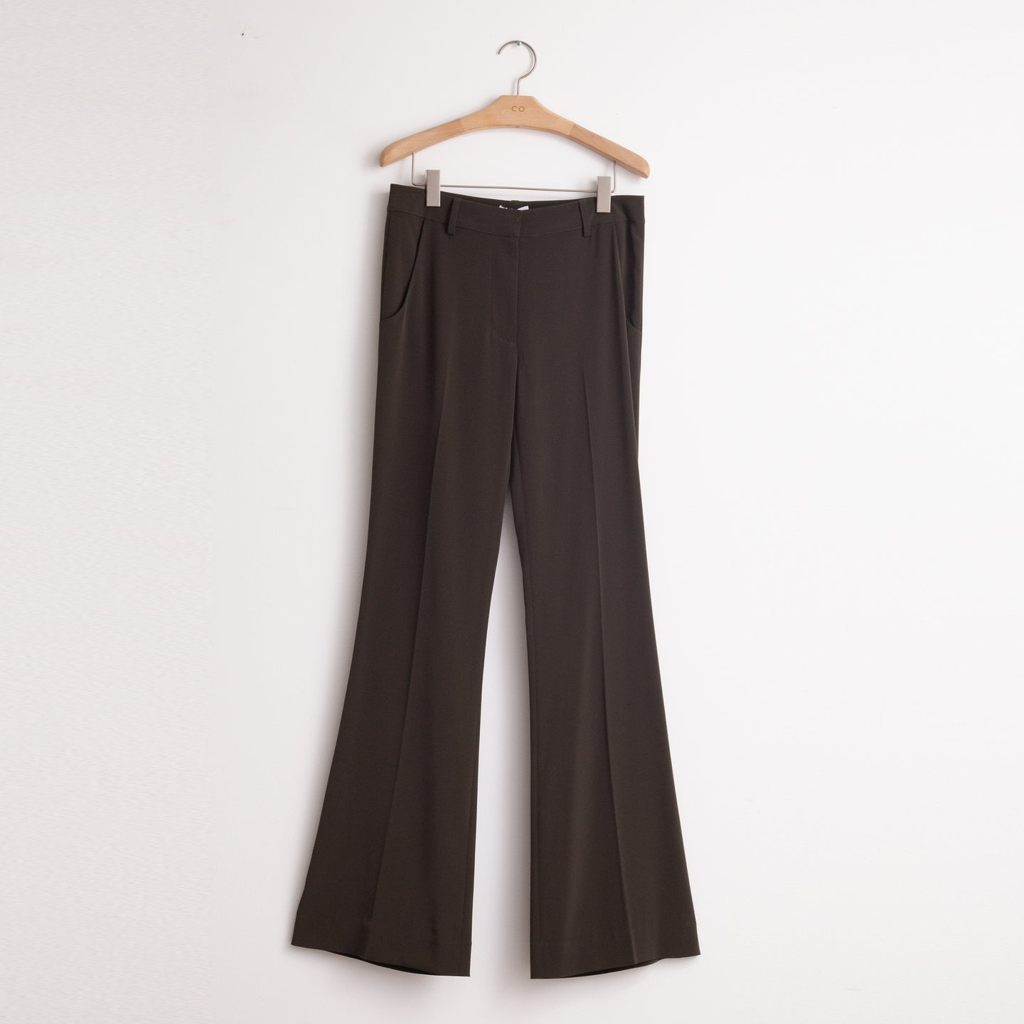 Mid rise flared leg trouser in forest green japanese stretch crepe - CO
