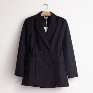 Oversized double breasted blazer with self drawstring waist in pinstripe stretch wool blend - CO