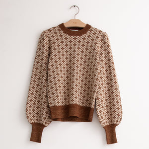 CO - Balloon sleeve chevron knit sweater in brown wool viscose
