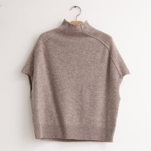 CO - Mock neck sweater with cap sleeve in taupe wool cashmere