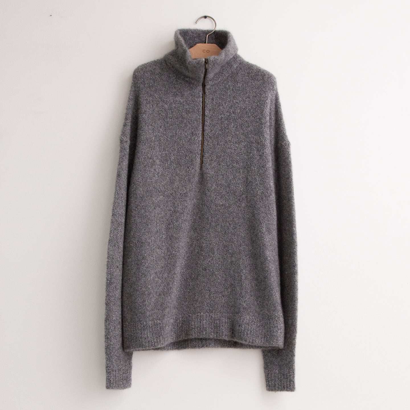 Mock neck half zip sweater in grey wool boucle - CO