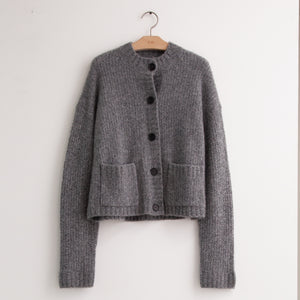 Classic button front cardigan with patch pockets in grey wool - CO